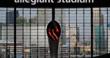 Al Davis Memorial Torch, Allegiant Stadium windows, Las Vegas strip