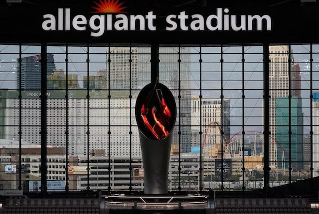 Al Davis Memorial Torch, Allegiant Stadium windows, Las Vegas strip