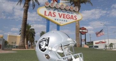 Raiders helmet, Welcome to Las Vegas sign