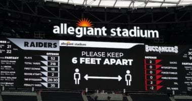 Allegiant Stadium video board, NFL protocols