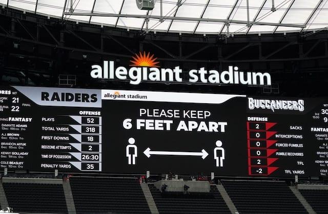 Allegiant Stadium video board, NFL protocols